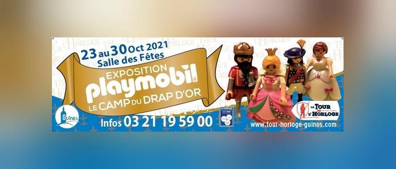 Visuel pour exposition de playmobil sur le thème du camp du drap d'or